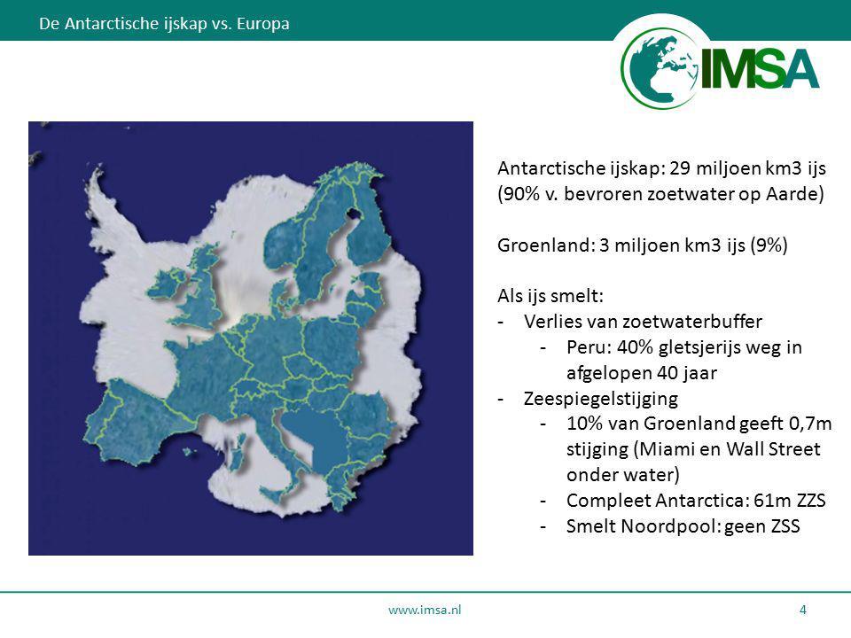 www.imsa.nl 4 De Antarctische ijskap vs. Europa Antarctische ijskap: 29 miljoen km3 ijs (90% v. bevroren zoetwater op Aarde) Groenland: 3 miljoen km3