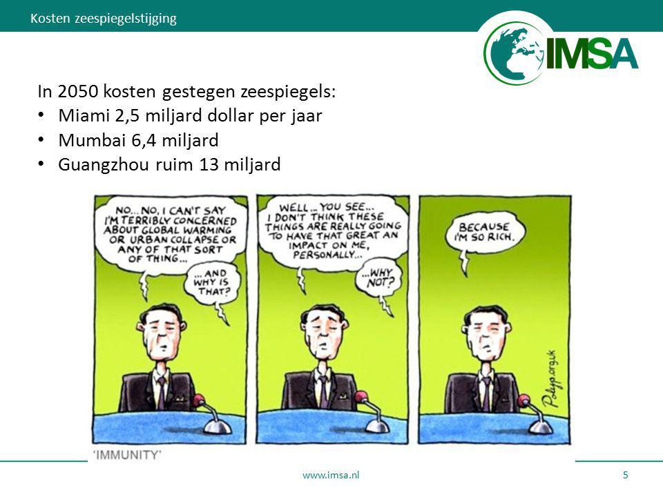 www.imsa.nl 5 In 2050 kosten gestegen zeespiegels: Miami 2,5 miljard dollar per jaar Mumbai 6,4 miljard Guangzhou ruim 13 miljard Kosten zeespiegelsti