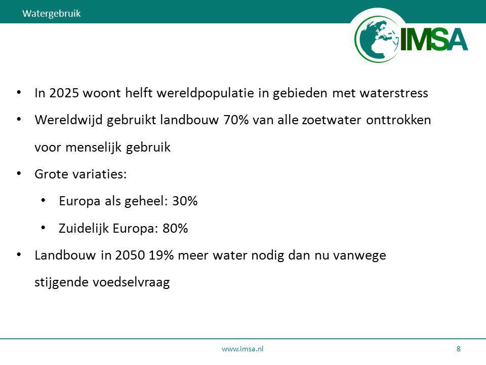 www.imsa.nl 8 In 2025 woont helft wereldpopulatie in gebieden met waterstress Wereldwijd gebruikt landbouw 70% van alle zoetwater onttrokken voor mens