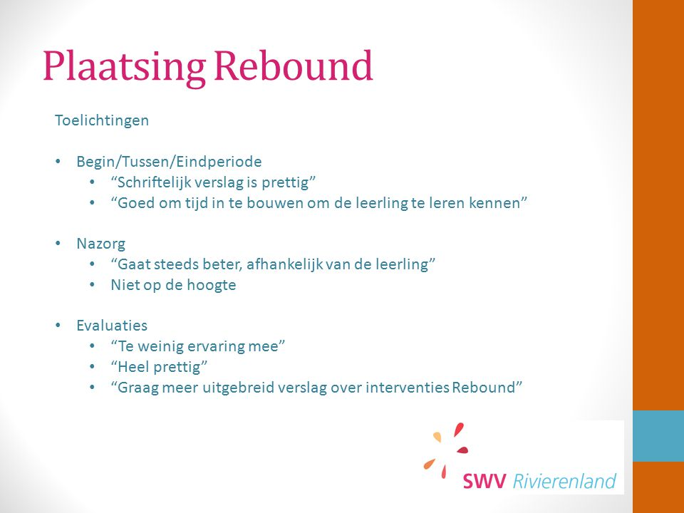"""Plaatsing Rebound Toelichtingen Begin/Tussen/Eindperiode """"Schriftelijk verslag is prettig"""" """"Goed om tijd in te bouwen om de leerling te leren kennen"""""""