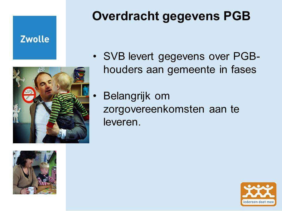 Overdracht gegevens PGB SVB levert gegevens over PGB- houders aan gemeente in fases Belangrijk om zorgovereenkomsten aan te leveren.