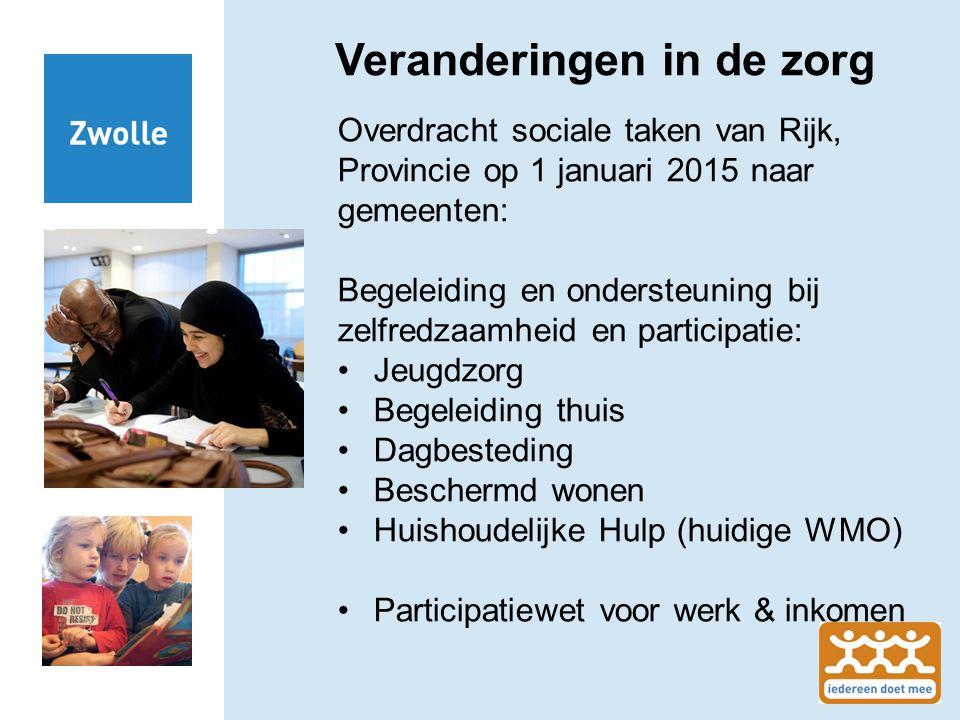 Veranderingen in de zorg Overdracht sociale taken van Rijk, Provincie op 1 januari 2015 naar gemeenten: Begeleiding en ondersteuning bij zelfredzaamhe
