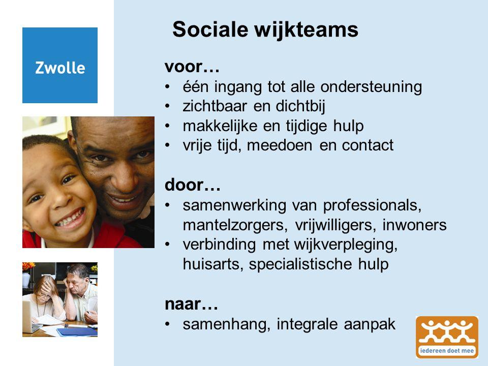Sociale wijkteams voor… één ingang tot alle ondersteuning zichtbaar en dichtbij makkelijke en tijdige hulp vrije tijd, meedoen en contact door… samenw