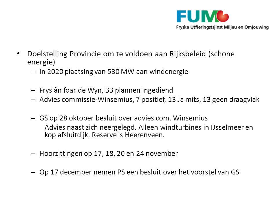 Doelstelling Provincie om te voldoen aan Rijksbeleid (schone energie) – In 2020 plaatsing van 530 MW aan windenergie – Fryslân foar de Wyn, 33 plannen ingediend – Advies commissie-Winsemius, 7 positief, 13 Ja mits, 13 geen draagvlak – GS op 28 oktober besluit over advies com.