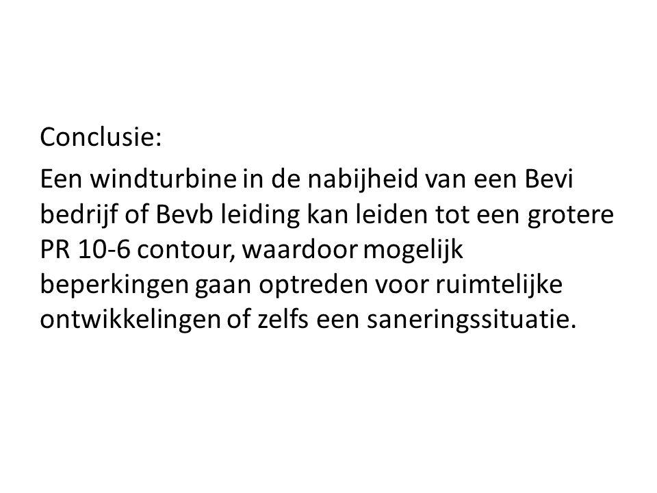 Conclusie: Een windturbine in de nabijheid van een Bevi bedrijf of Bevb leiding kan leiden tot een grotere PR 10-6 contour, waardoor mogelijk beperkingen gaan optreden voor ruimtelijke ontwikkelingen of zelfs een saneringssituatie.