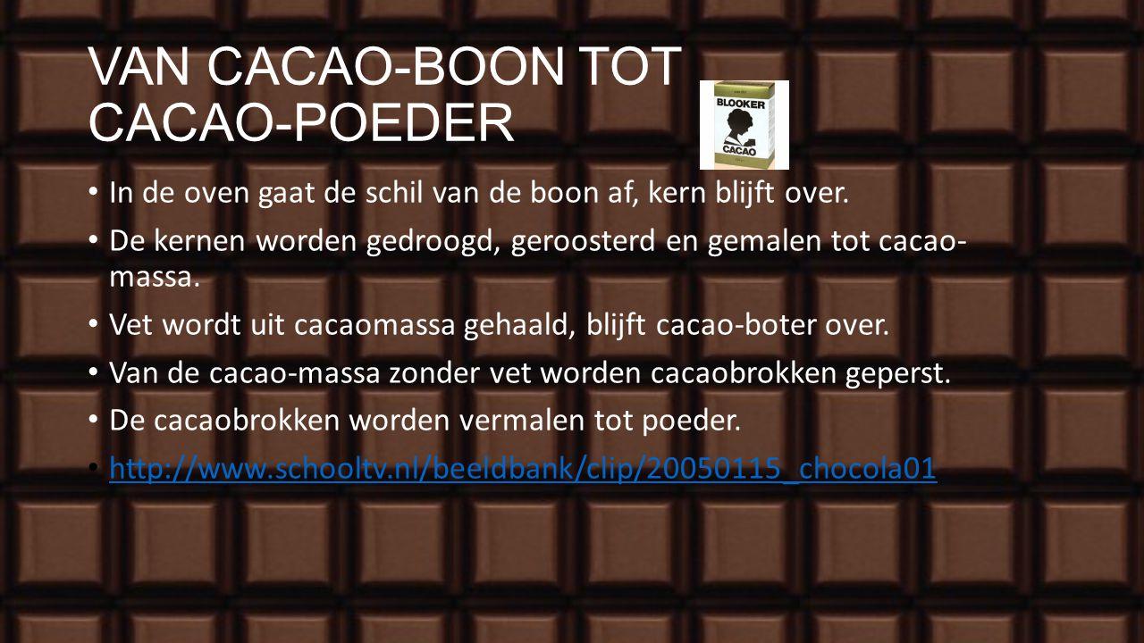 DE OOGST Cacao- vruchten worden met de hand geplukt. Gisten in bananenbladeren voor de smaak. Drogen Verschepen in balen.