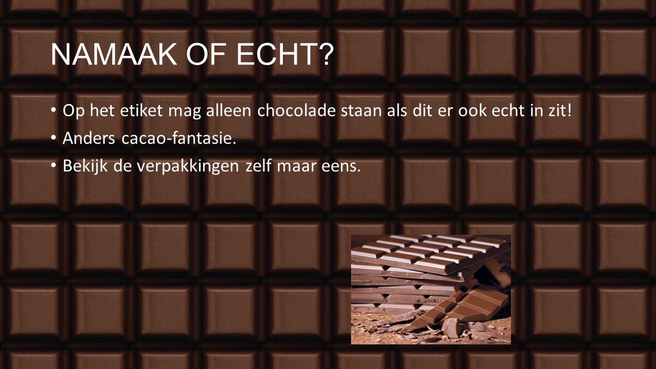 SMAAK VAN CHOCOLADE Cacao-massa met suiker en cacao-boter is pure chocolade. Cacao-massa met suiker, cacao-boter en melkpoeder is melkchocolade. Cacao