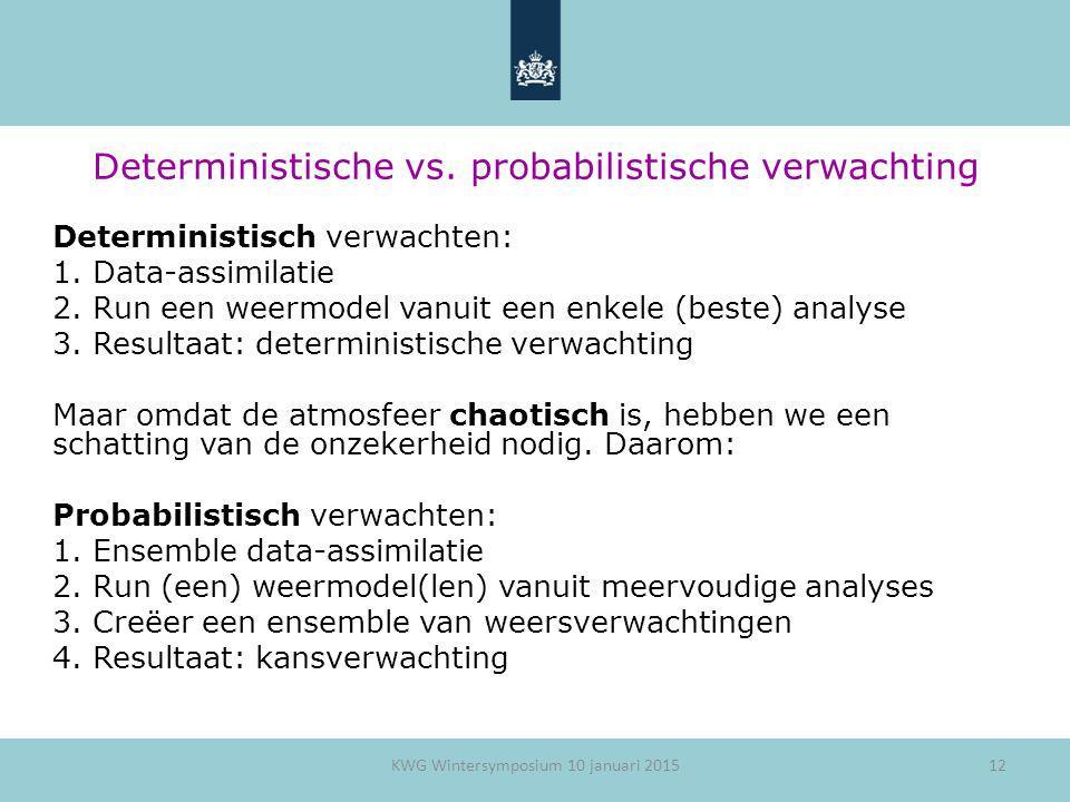 12 Deterministische vs. probabilistische verwachting Deterministisch verwachten: 1.Data-assimilatie 2.Run een weermodel vanuit een enkele (beste) anal