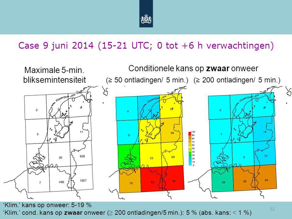 32 Case 9 juni 2014 (15-21 UTC; 0 tot +6 h verwachtingen) 'Klim.' kans op onweer: 5-19 % 'Klim.' cond. kans op zwaar onweer ( ≥ 200 ontladingen/5 min.