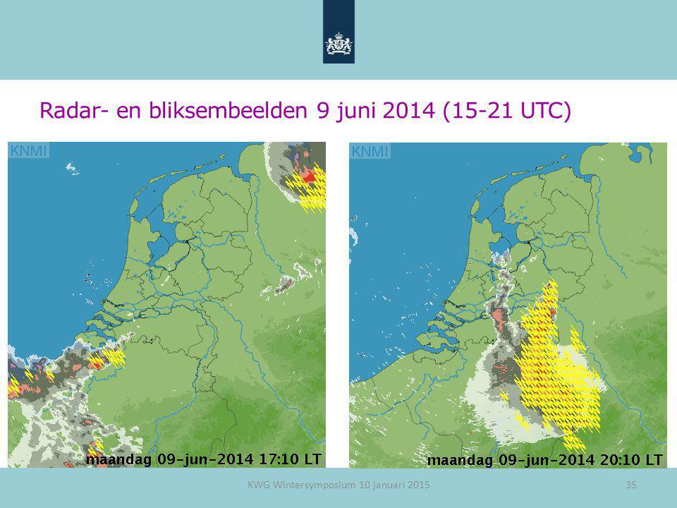 Radar- en bliksembeelden 9 juni 2014 (15-21 UTC) KWG Wintersymposium 10 januari 201535