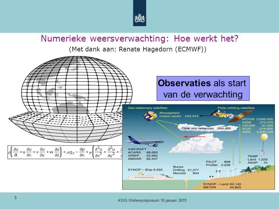 5 Numerieke weersverwachting: Hoe werkt het? Observaties als start van de verwachting (Met dank aan: Renate Hagedorn (ECMWF)) KWG Wintersymposium 10 j