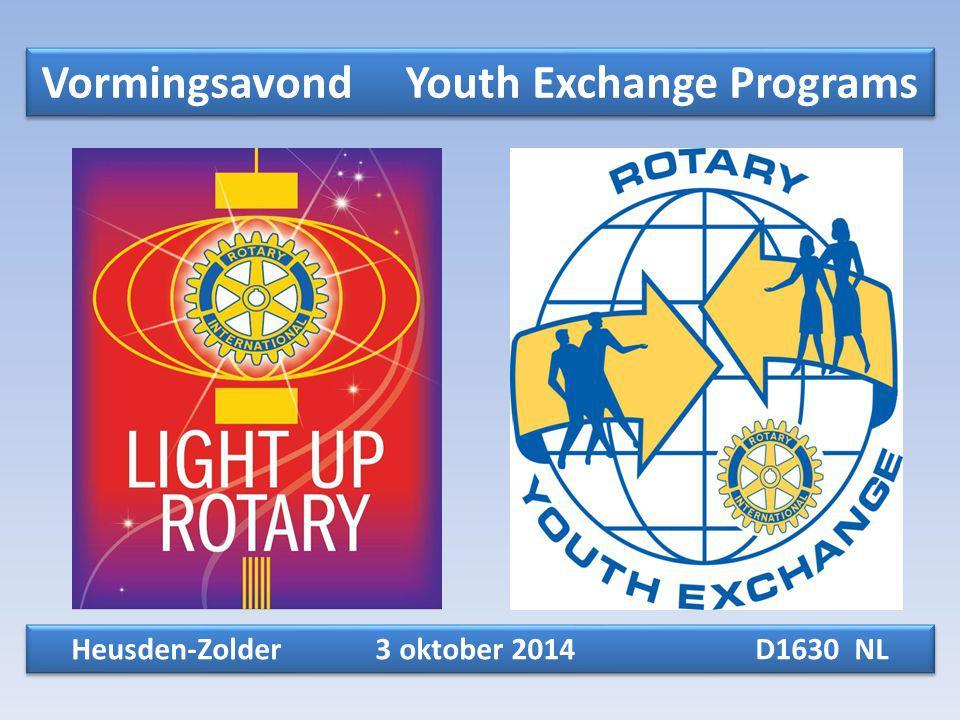 Vormingsavond Youth Exchange Programs Heusden-Zolder 3 oktober 2014 D1630 NL