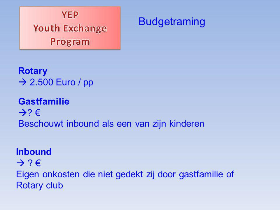 Budgetraming Rotary  2.500 Euro / pp Gastfamilie  .