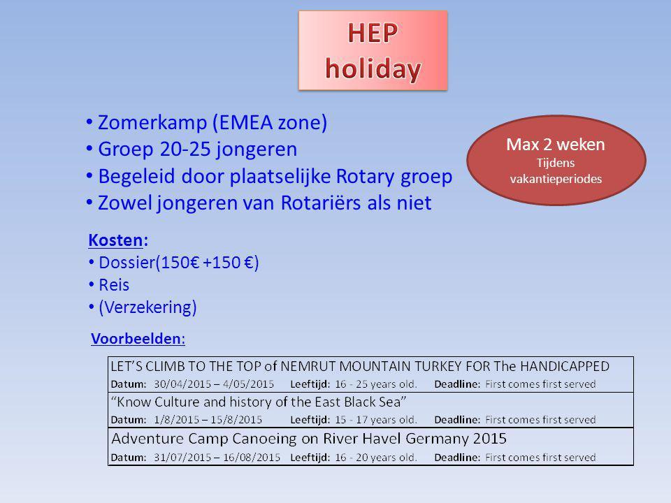 Zomerkamp (EMEA zone) Groep 20-25 jongeren Begeleid door plaatselijke Rotary groep Zowel jongeren van Rotariërs als niet Kosten: Dossier(150€ +150 €) Reis (Verzekering) Max 2 weken Tijdens vakantieperiodes : Voorbeelden: