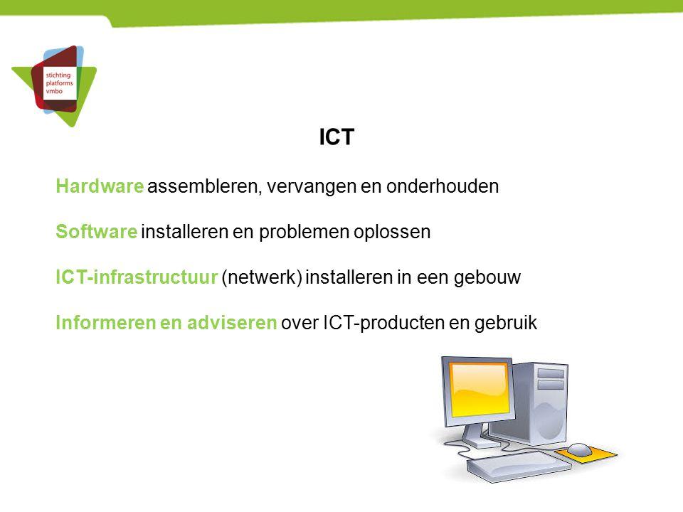 ICT Hardware assembleren, vervangen en onderhouden Software installeren en problemen oplossen ICT-infrastructuur (netwerk) installeren in een gebouw I