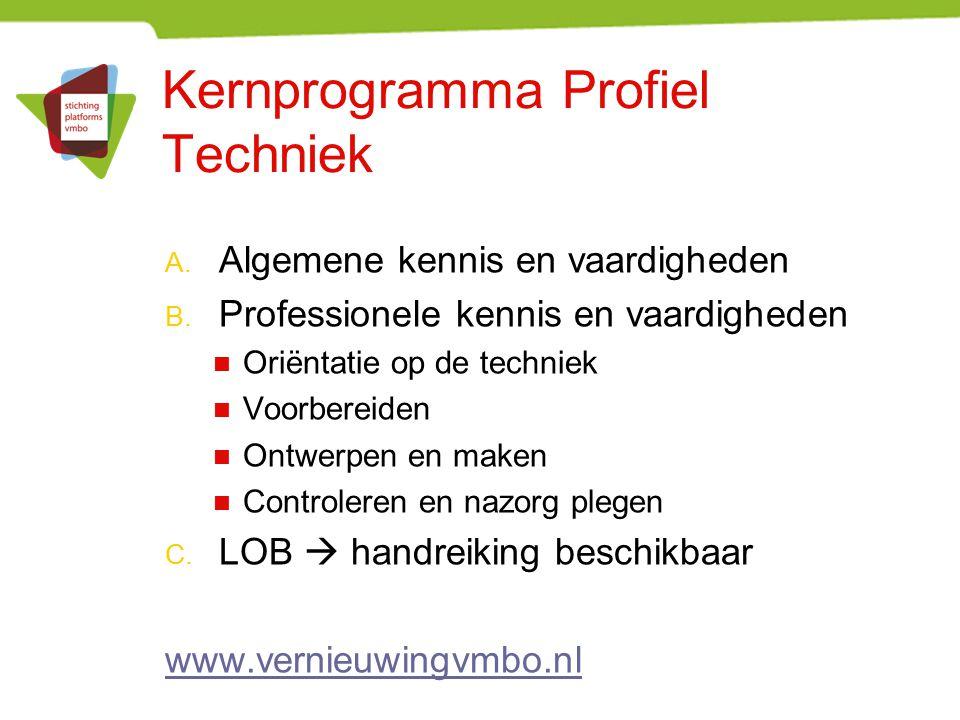 Kernprogramma Profiel Techniek A. Algemene kennis en vaardigheden B. Professionele kennis en vaardigheden Oriëntatie op de techniek Voorbereiden Ontwe