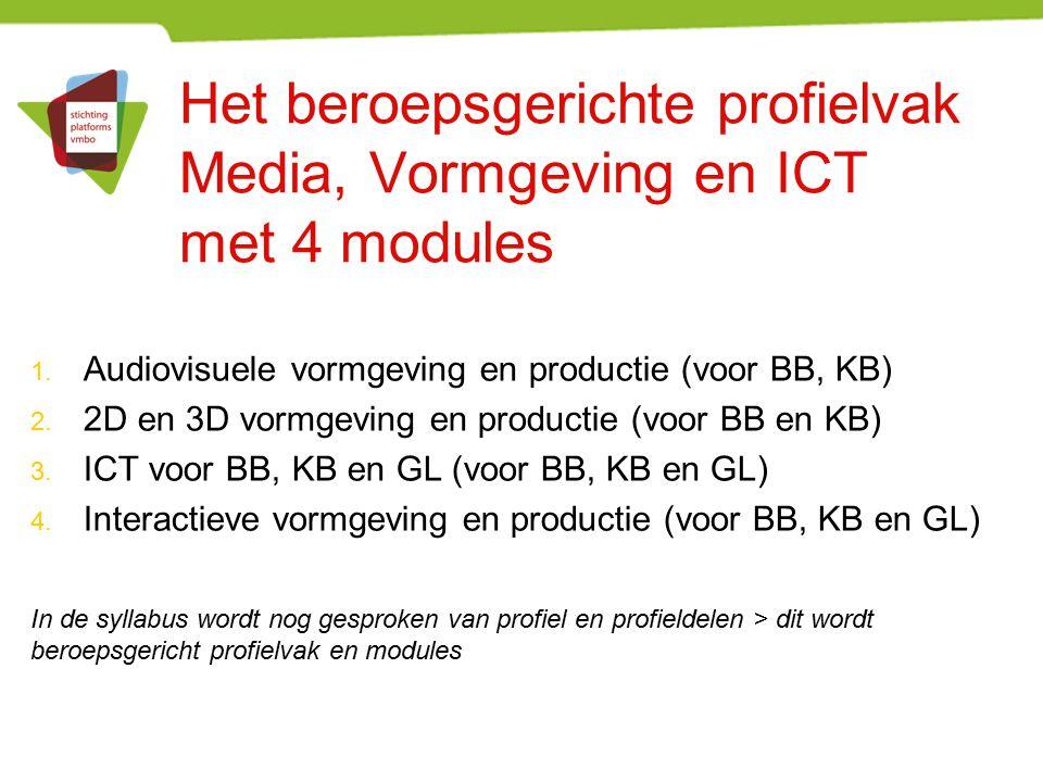 Het beroepsgerichte profielvak Media, Vormgeving en ICT met 4 modules 1. Audiovisuele vormgeving en productie (voor BB, KB) 2. 2D en 3D vormgeving en