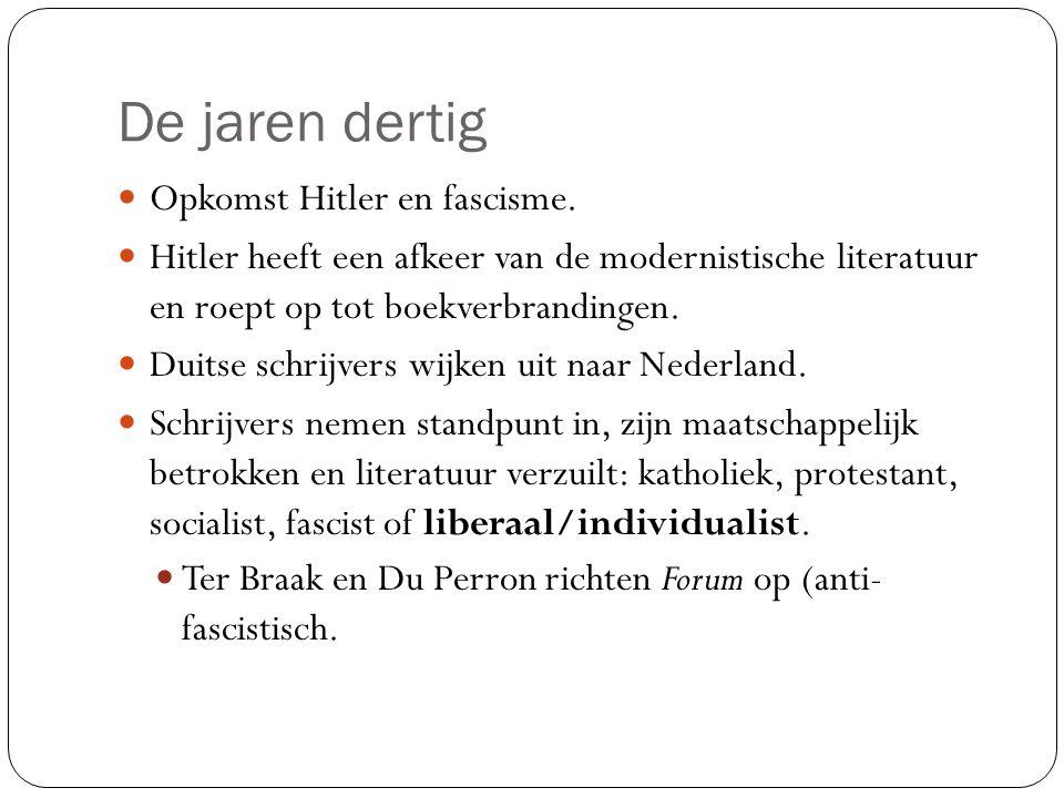 De jaren dertig Opkomst Hitler en fascisme. Hitler heeft een afkeer van de modernistische literatuur en roept op tot boekverbrandingen. Duitse schrijv