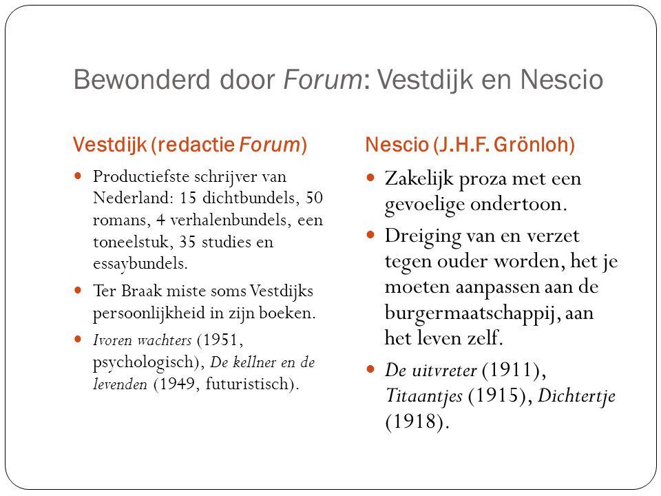 Bewonderd door Forum: Vestdijk en Nescio Vestdijk (redactie Forum)Nescio (J.H.F. Grönloh) Productiefste schrijver van Nederland: 15 dichtbundels, 50 r