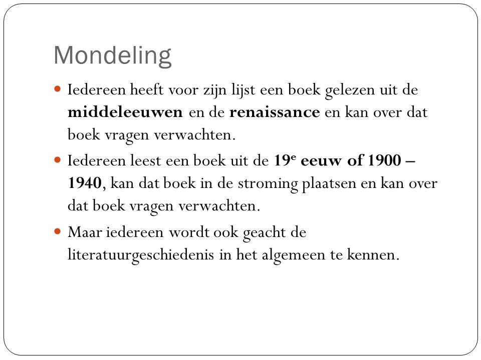 Literatuurgeschiedenis tot nu toe Middeleeuwen: memento mori.