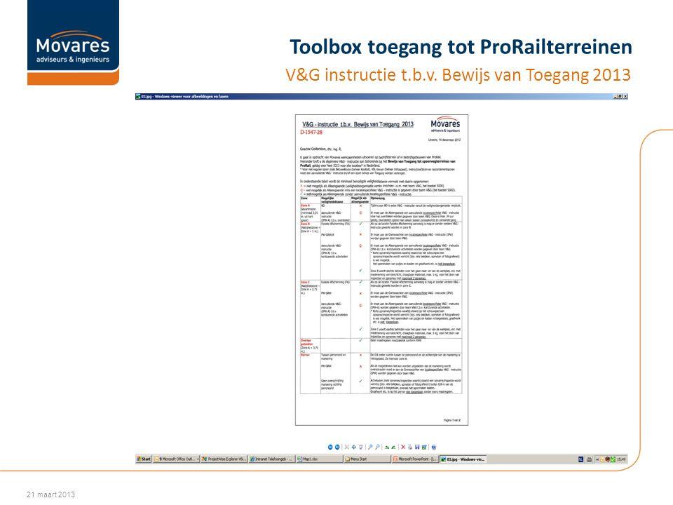 Toolbox toegang tot ProRailterreinen V&G instructie t.b.v. Bewijs van Toegang 2013 21 maart 2013