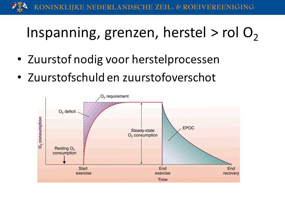 Inspanning, grenzen, herstel > rol O 2 Zuurstof nodig voor herstelprocessen Zuurstofschuld en zuurstofoverschot