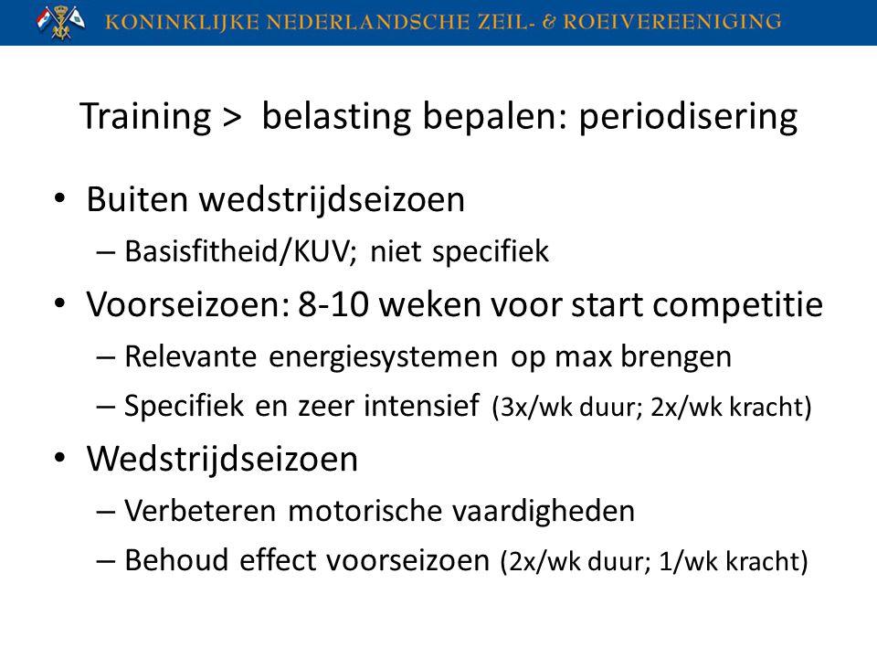 Training > belasting bepalen: periodisering Buiten wedstrijdseizoen – Basisfitheid/KUV; niet specifiek Voorseizoen: 8-10 weken voor start competitie –