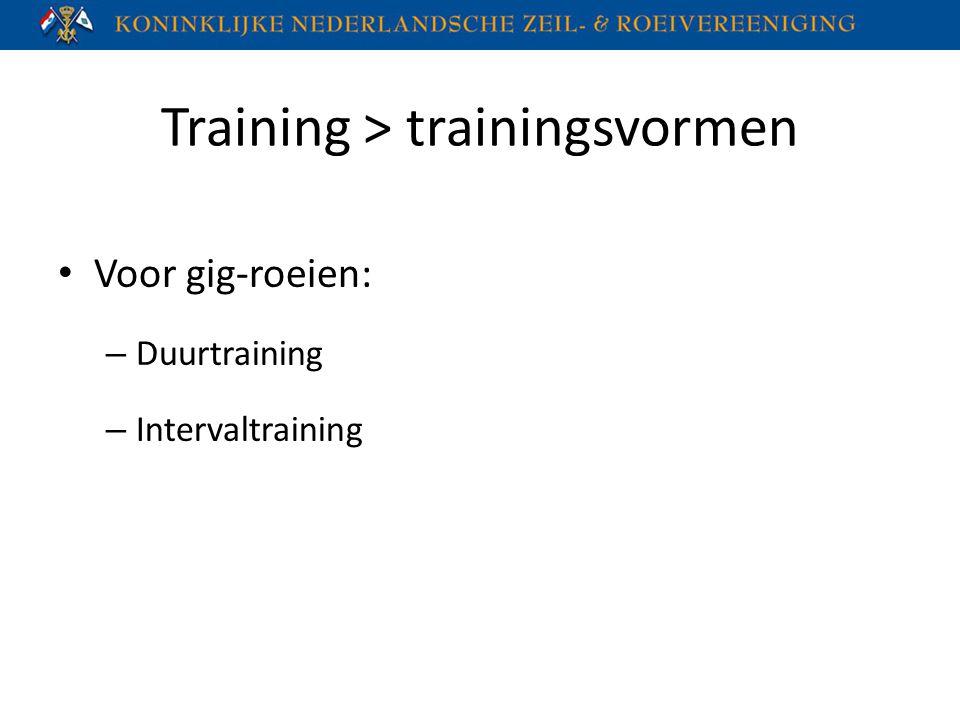 Training > trainingsvormen Voor gig-roeien: – Duurtraining – Intervaltraining