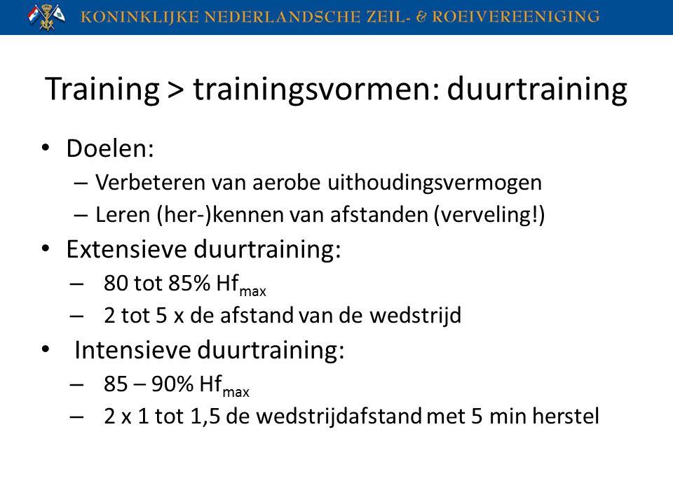 Training > trainingsvormen: duurtraining Doelen: – Verbeteren van aerobe uithoudingsvermogen – Leren (her-)kennen van afstanden (verveling!) Extensiev