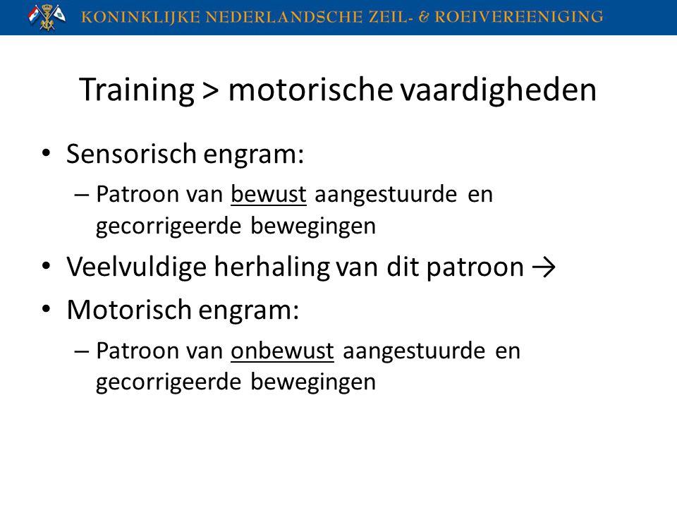 Training > motorische vaardigheden Sensorisch engram: – Patroon van bewust aangestuurde en gecorrigeerde bewegingen Veelvuldige herhaling van dit patr