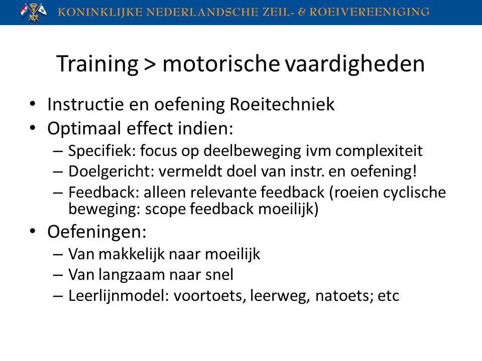Training > motorische vaardigheden Instructie en oefening Roeitechniek Optimaal effect indien: – Specifiek: focus op deelbeweging ivm complexiteit – D