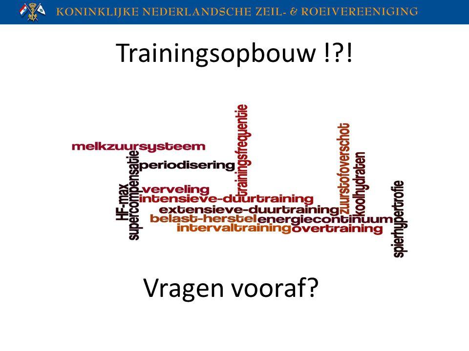 Trainingsopbouw !?! Vragen vooraf?