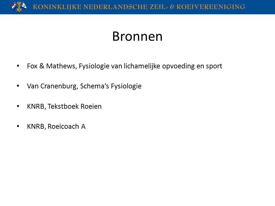 Bronnen Fox & Mathews, Fysiologie van lichamelijke opvoeding en sport Van Cranenburg, Schema's Fysiologie KNRB, Tekstboek Roeien KNRB, Roeicoach A