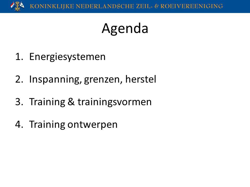 Agenda 1.Energiesystemen 2.Inspanning, grenzen, herstel 3.Training & trainingsvormen 4.Training ontwerpen