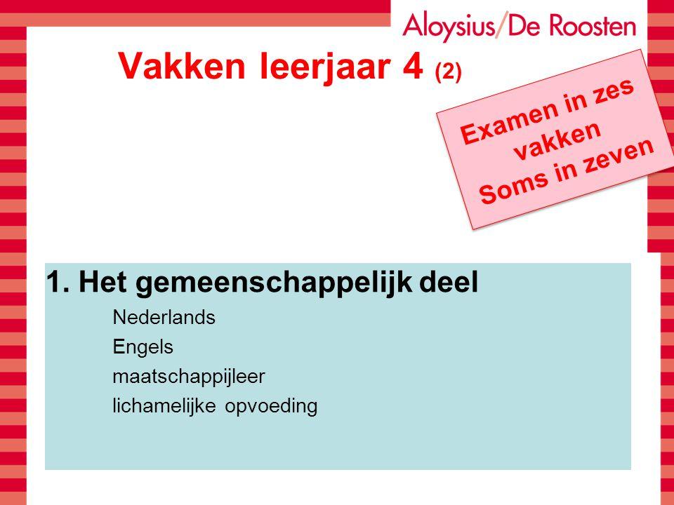 Vakken leerjaar 4 (2) 1. Het gemeenschappelijk deel Nederlands Engels maatschappijleer lichamelijke opvoeding Examen in zes vakken Soms in zeven Exame