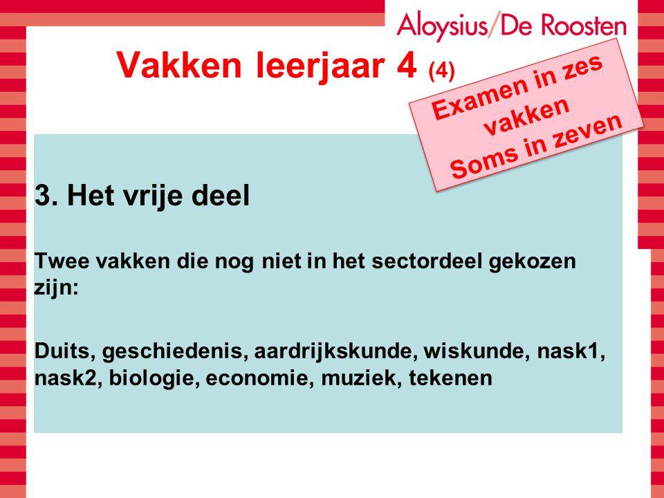 Vakken leerjaar 4 (4) 3. Het vrije deel Twee vakken die nog niet in het sectordeel gekozen zijn: Duits, geschiedenis, aardrijkskunde, wiskunde, nask1,