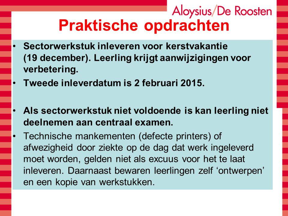 Praktische opdrachten Sectorwerkstuk inleveren voor kerstvakantie (19 december). Leerling krijgt aanwijzigingen voor verbetering. Tweede inleverdatum