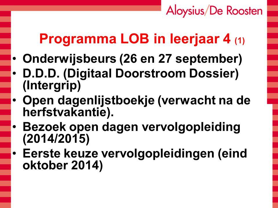 Programma LOB in leerjaar 4 (1) Onderwijsbeurs (26 en 27 september) D.D.D. (Digitaal Doorstroom Dossier) (Intergrip) Open dagenlijstboekje (verwacht n