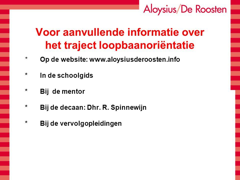 Voor aanvullende informatie over het traject loopbaanoriëntatie *Op de website: www.aloysiusderoosten.info *In de schoolgids *Bij de mentor *Bij de de