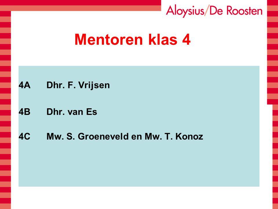 Mentoren klas 4 4ADhr. F. Vrijsen 4BDhr. van Es 4CMw. S. Groeneveld en Mw. T. Konoz