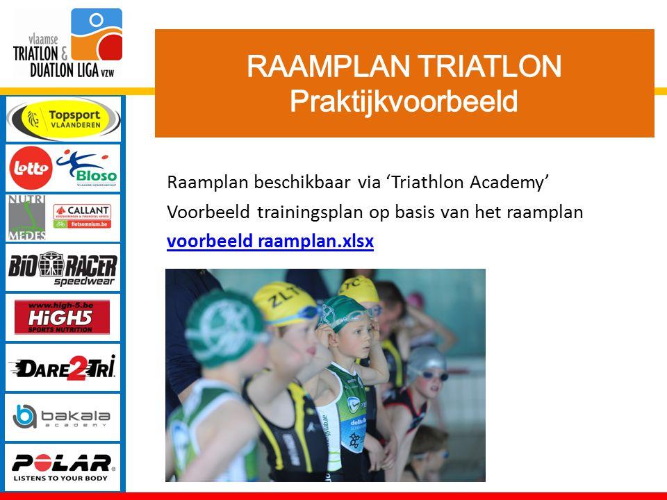 Raamplan beschikbaar via 'Triathlon Academy' Voorbeeld trainingsplan op basis van het raamplan voorbeeld raamplan.xlsx