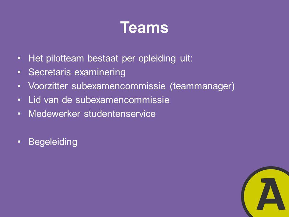 Teams Het pilotteam bestaat per opleiding uit: Secretaris examinering Voorzitter subexamencommissie (teammanager) Lid van de subexamencommissie Medewe