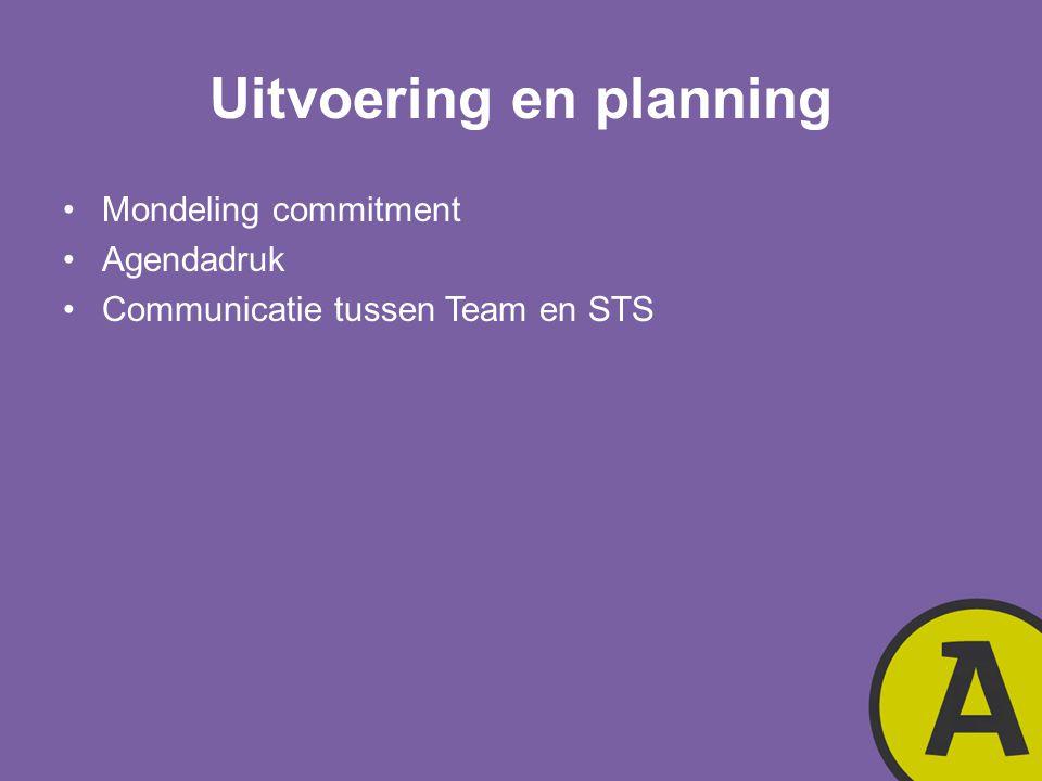 Uitvoering en planning Mondeling commitment Agendadruk Communicatie tussen Team en STS
