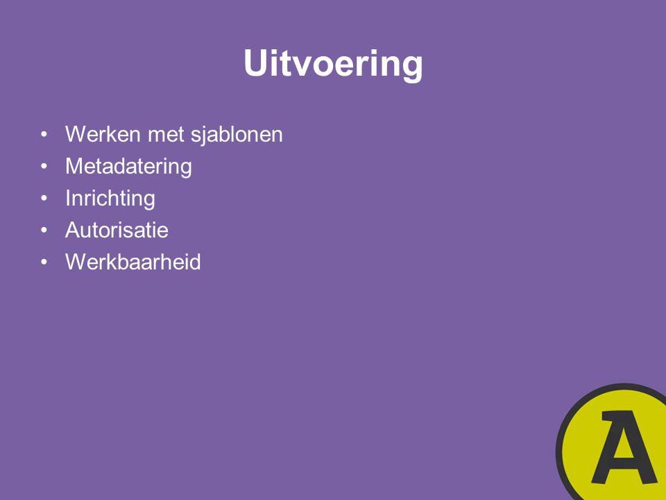 Uitvoering Werken met sjablonen Metadatering Inrichting Autorisatie Werkbaarheid