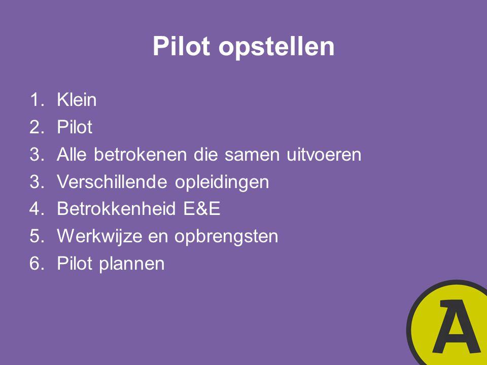 Pilot opstellen 1.Klein 2.Pilot 3.Alle betrokenen die samen uitvoeren 3.Verschillende opleidingen 4.Betrokkenheid E&E 5.Werkwijze en opbrengsten 6.Pil