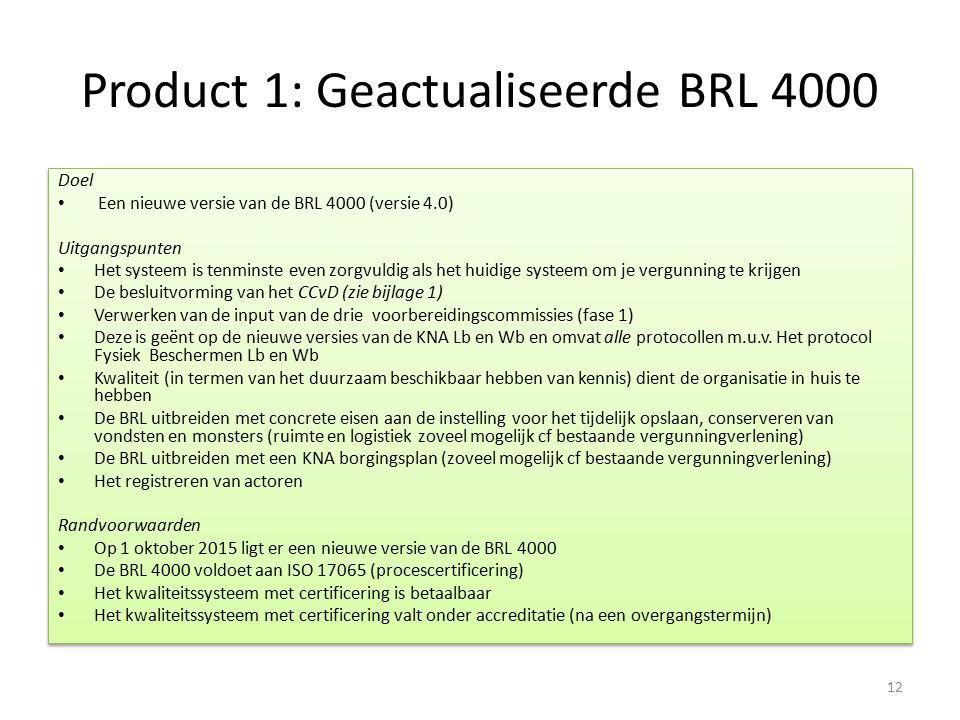 Product 1: Geactualiseerde BRL 4000 Doel Een nieuwe versie van de BRL 4000 (versie 4.0) Uitgangspunten Het systeem is tenminste even zorgvuldig als he