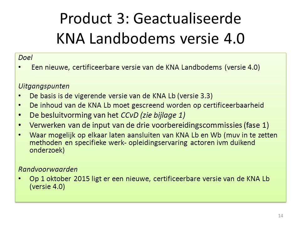 Product 3: Geactualiseerde KNA Landbodems versie 4.0 Doel Een nieuwe, certificeerbare versie van de KNA Landbodems (versie 4.0) Uitgangspunten De basi