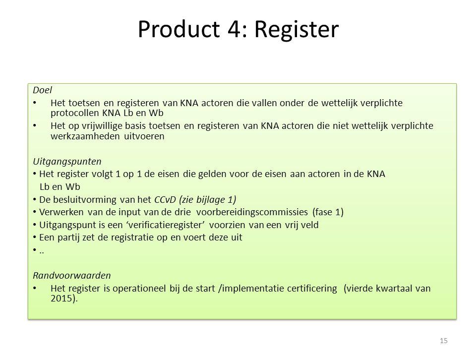 Product 4: Register Doel Het toetsen en registeren van KNA actoren die vallen onder de wettelijk verplichte protocollen KNA Lb en Wb Het op vrijwillig