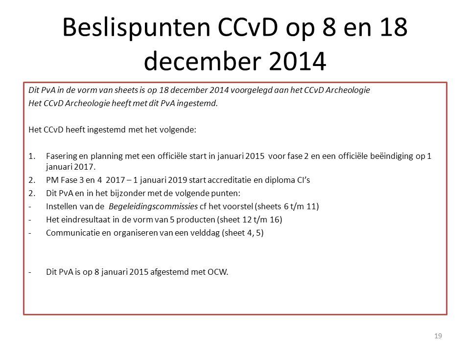 Beslispunten CCvD op 8 en 18 december 2014 Dit PvA in de vorm van sheets is op 18 december 2014 voorgelegd aan het CCvD Archeologie Het CCvD Archeolog