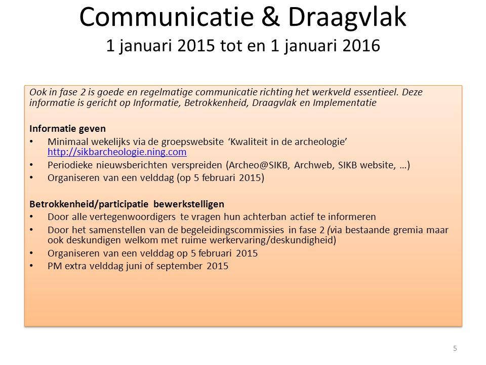Communicatie & Draagvlak 1 januari 2015 tot en 1 januari 2016 Ook in fase 2 is goede en regelmatige communicatie richting het werkveld essentieel. Dez
